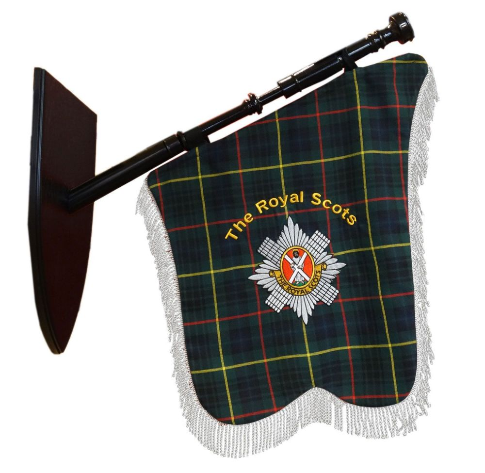 The Royal Scots Bagpipe Tartan Banner With The Regimental